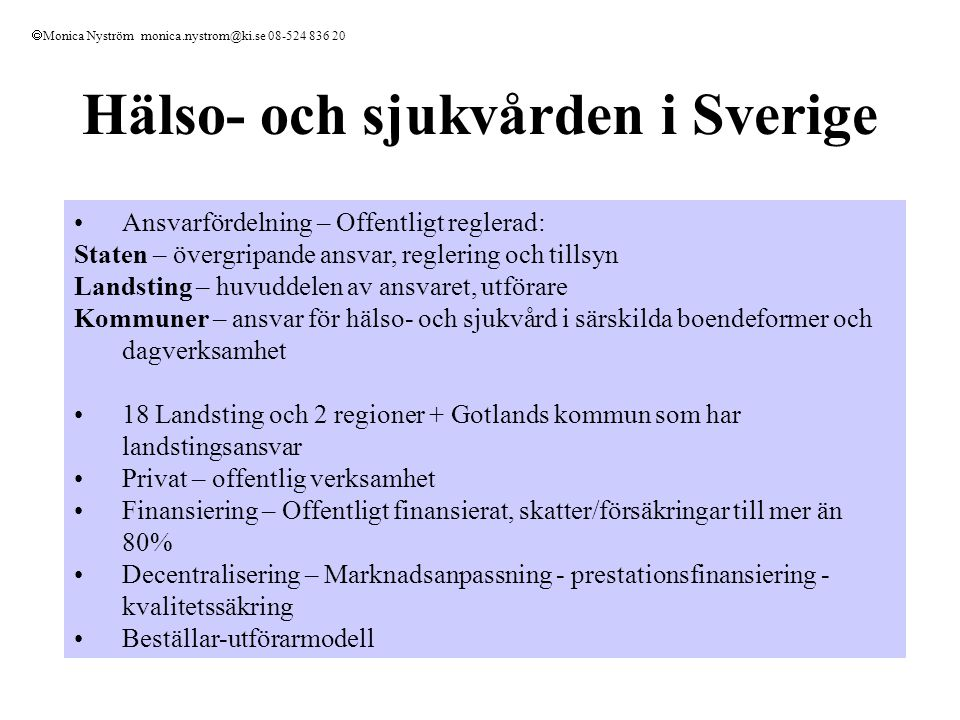 Hälso- och sjukvården i Sverige