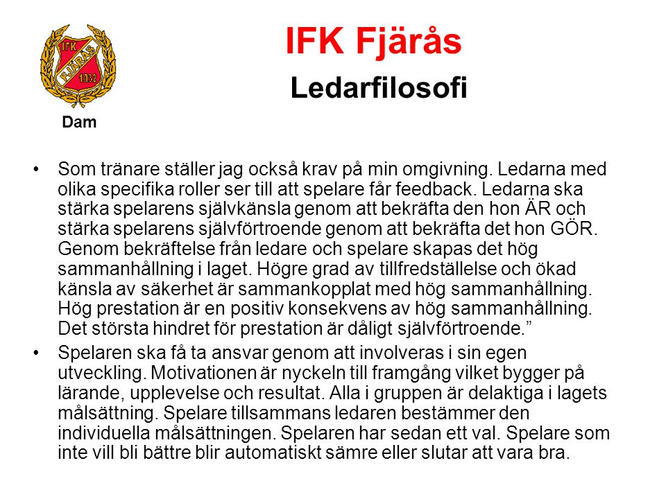 IFK Fjärås Ledarfilosofi