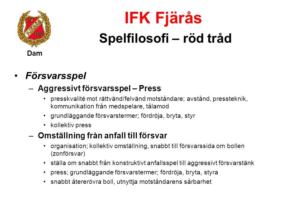 IFK Fjärås Spelfilosofi – röd tråd