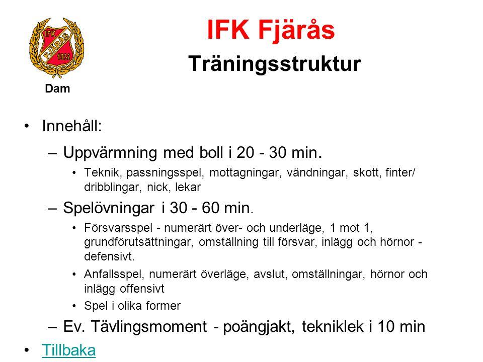 IFK Fjärås Träningsstruktur