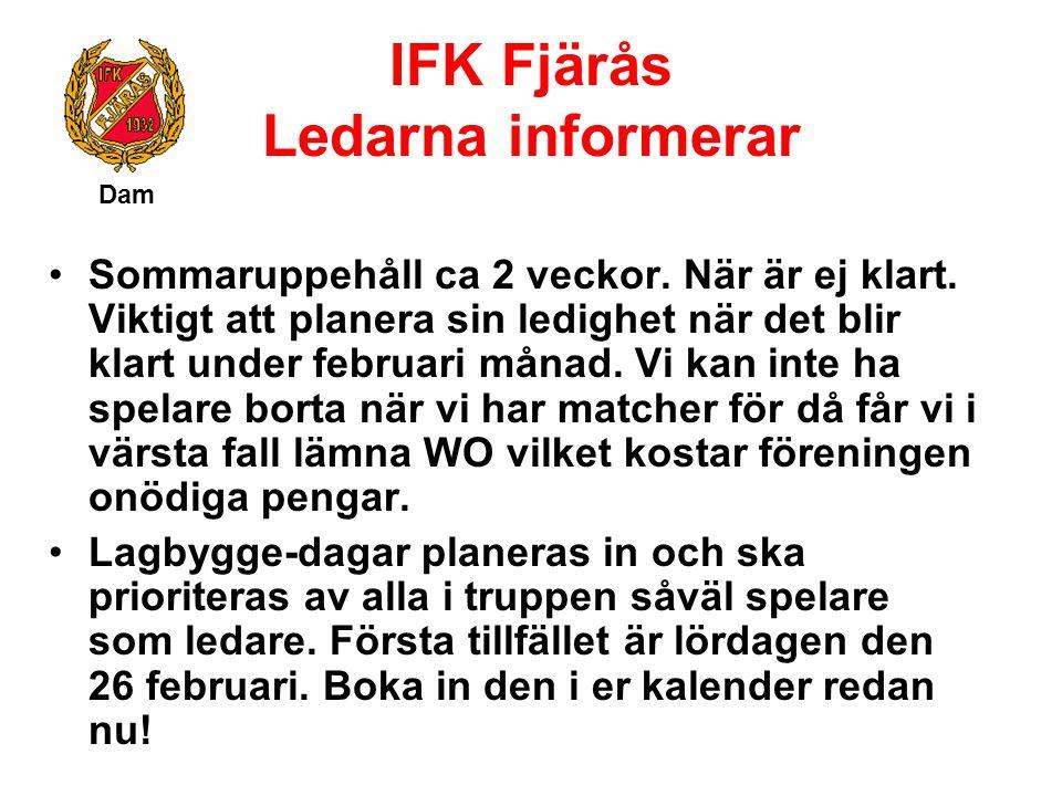 IFK Fjärås Ledarna informerar