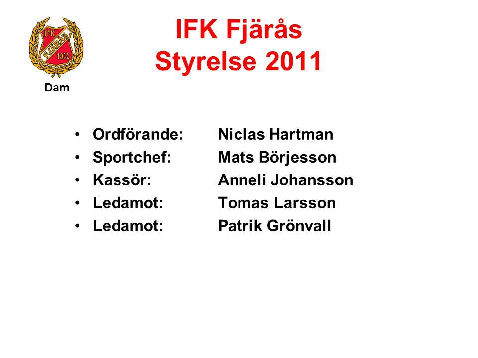IFK Fjärås Styrelse 2011 Ordförande: Niclas Hartman