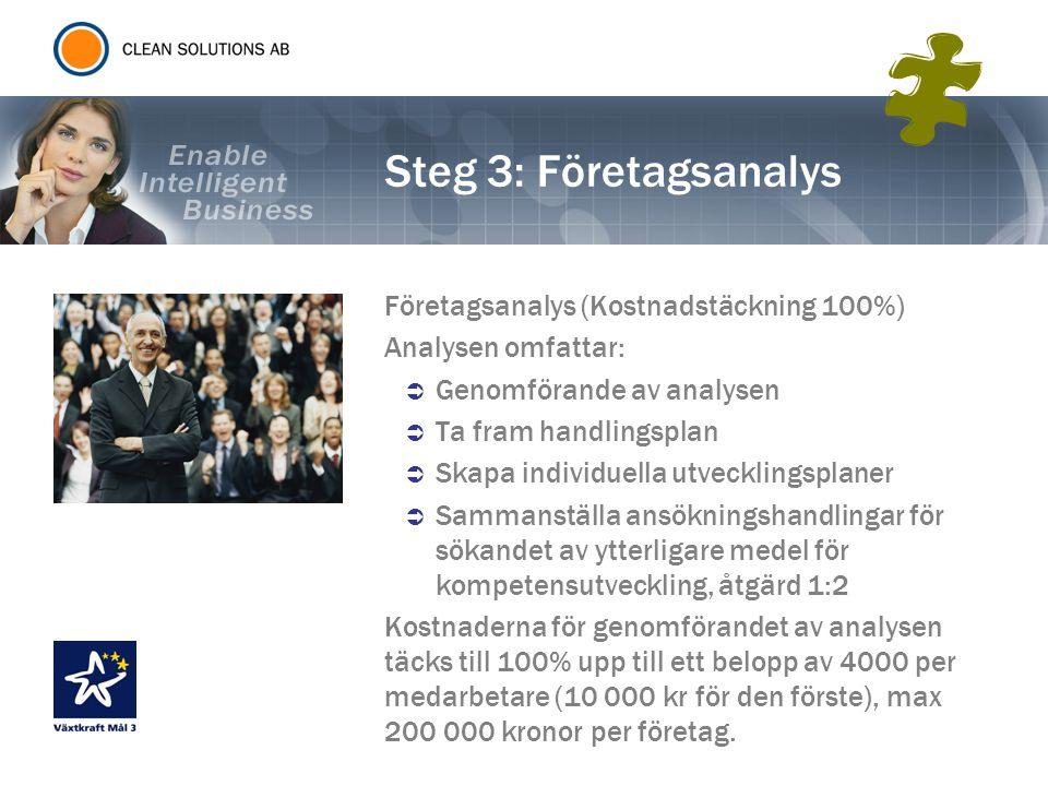 Steg 3: Företagsanalys Företagsanalys (Kostnadstäckning 100%)