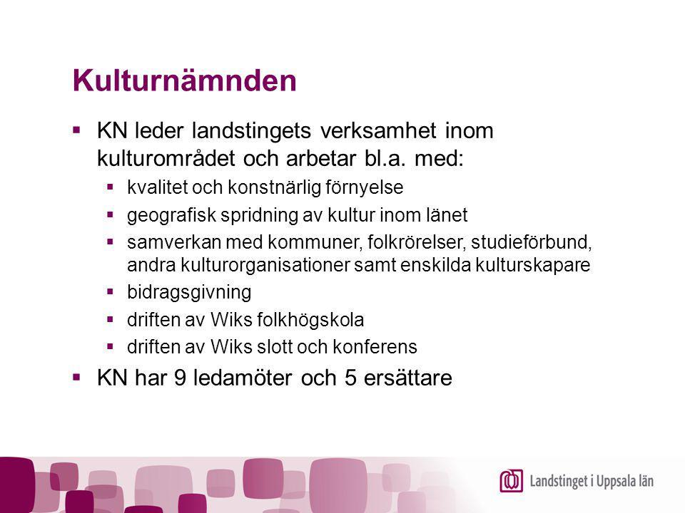 Kulturnämnden KN leder landstingets verksamhet inom kulturområdet och arbetar bl.a. med: kvalitet och konstnärlig förnyelse.