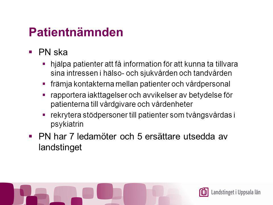 Patientnämnden PN ska. hjälpa patienter att få information för att kunna ta tillvara sina intressen i hälso- och sjukvården och tandvården.