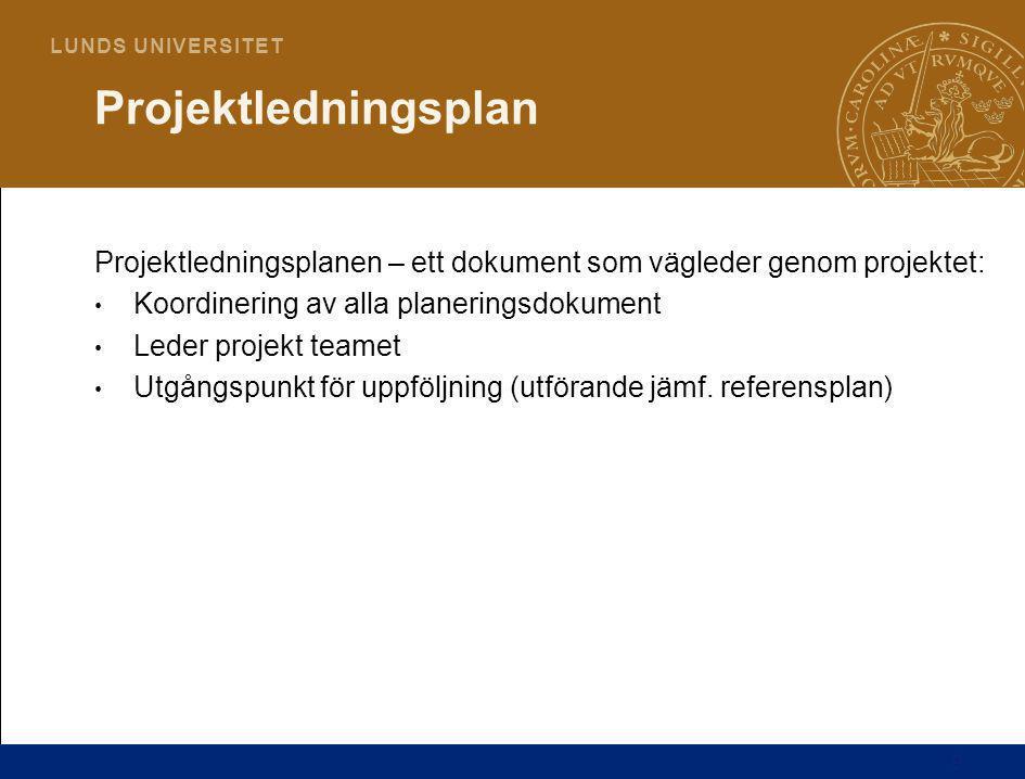 Projektledningsplan Projektledningsplanen – ett dokument som vägleder genom projektet: Koordinering av alla planeringsdokument.