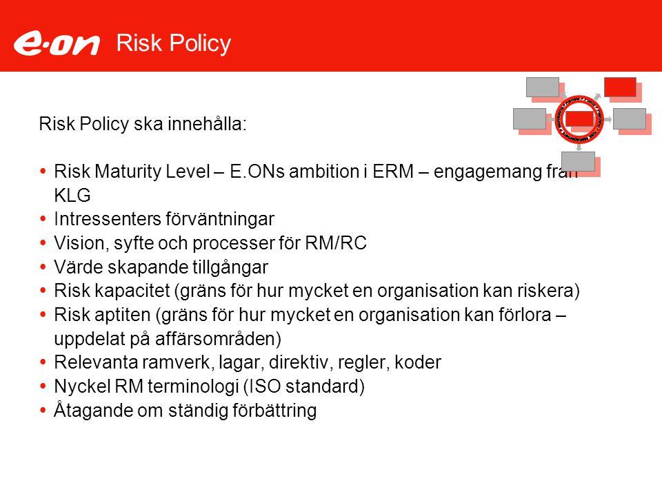 Risk Policy Risk Policy ska innehålla: