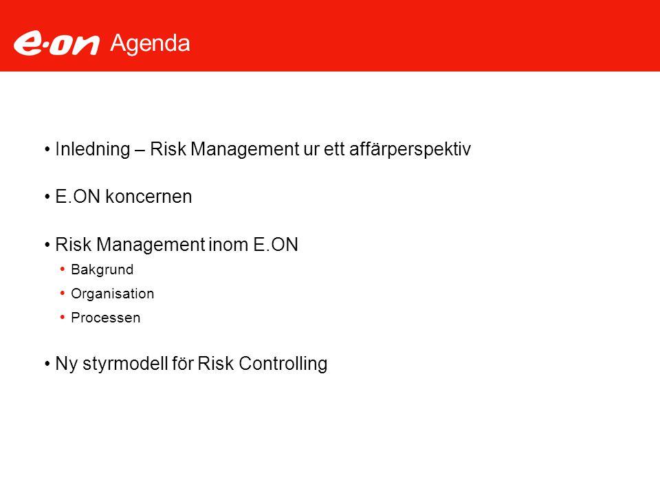 Agenda Inledning – Risk Management ur ett affärperspektiv