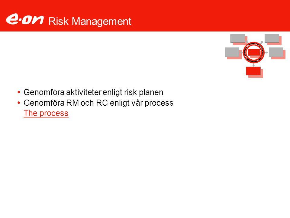 Risk Management Genomföra aktiviteter enligt risk planen