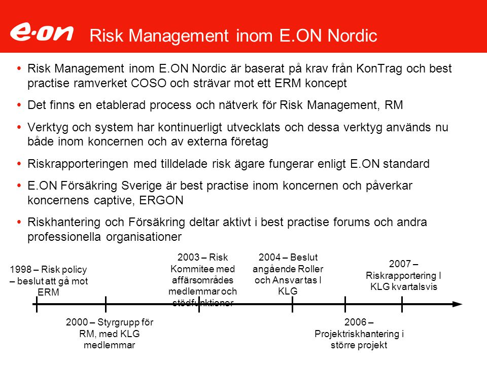 Risk Management inom E.ON Nordic