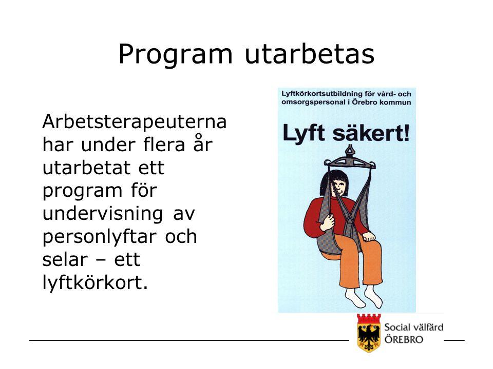 Program utarbetas Arbetsterapeuterna har under flera år utarbetat ett program för undervisning av personlyftar och selar – ett lyftkörkort.