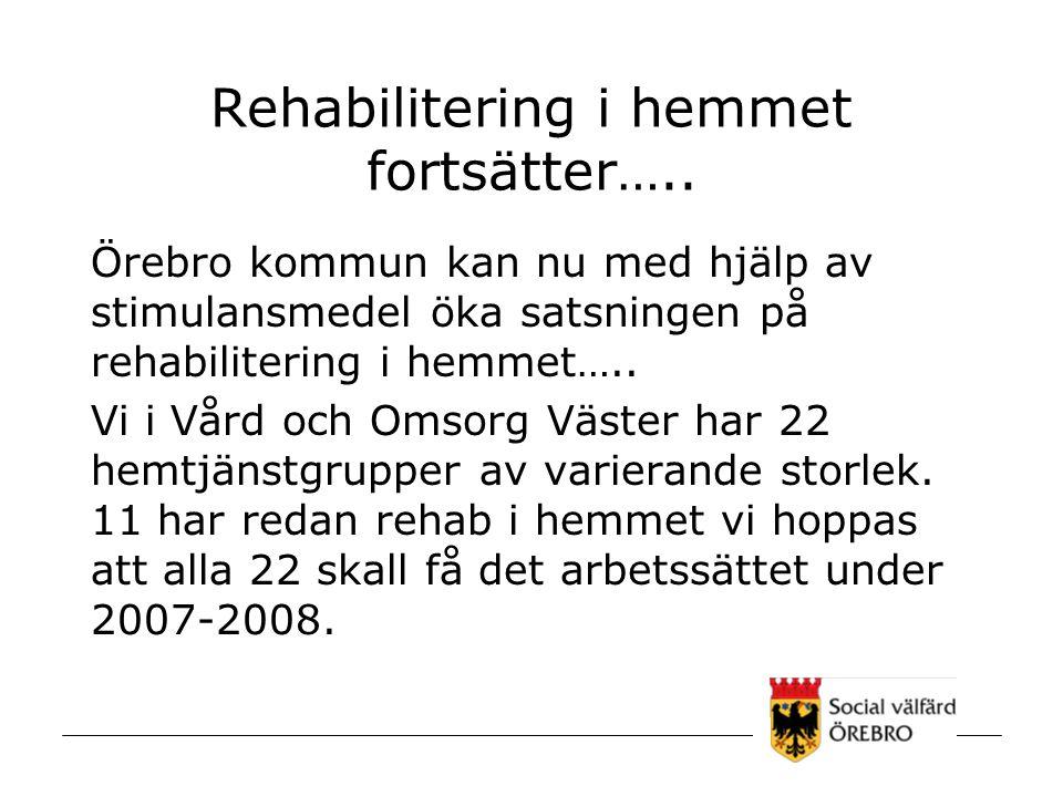 Rehabilitering i hemmet fortsätter…..
