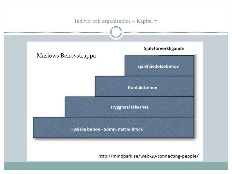 Individ och organisation – Kapitel 7