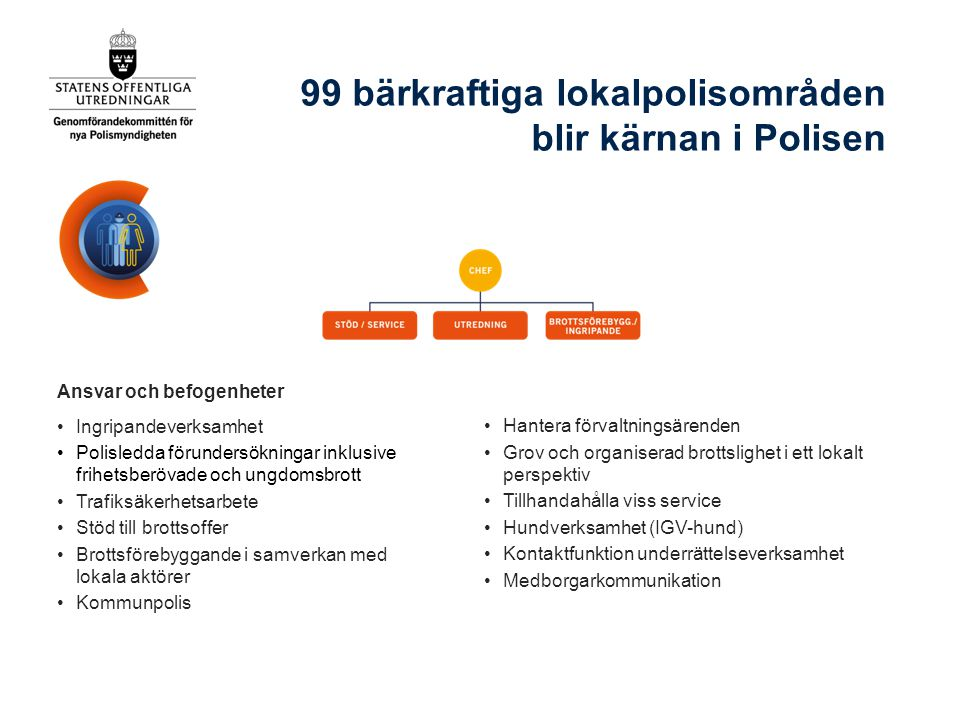 99 bärkraftiga lokalpolisområden blir kärnan i Polisen