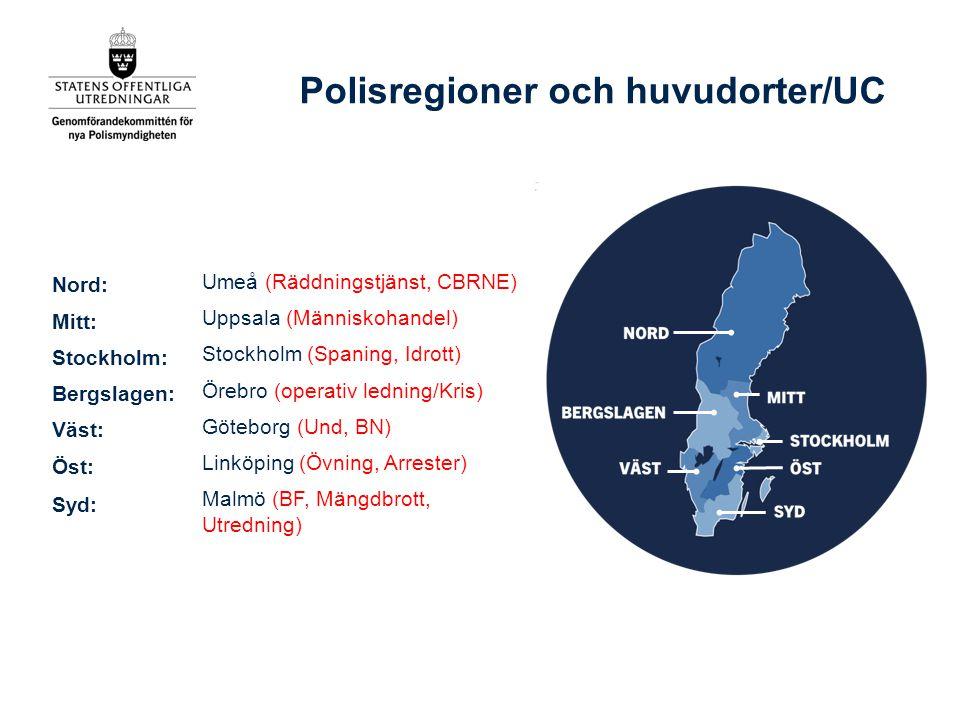 Polisregioner och huvudorter/UC