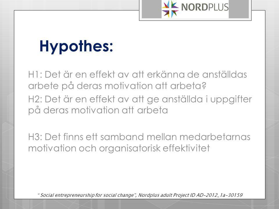 Hypothes: H1: Det är en effekt av att erkänna de anställdas arbete på deras motivation att arbeta