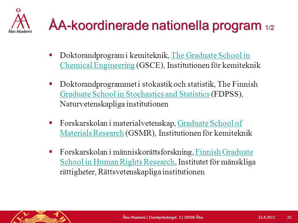 ÅA-koordinerade nationella program 1/2
