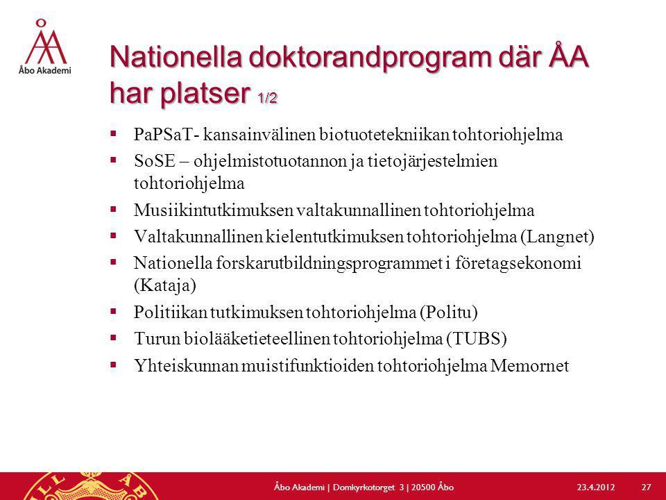 Nationella doktorandprogram där ÅA har platser 1/2