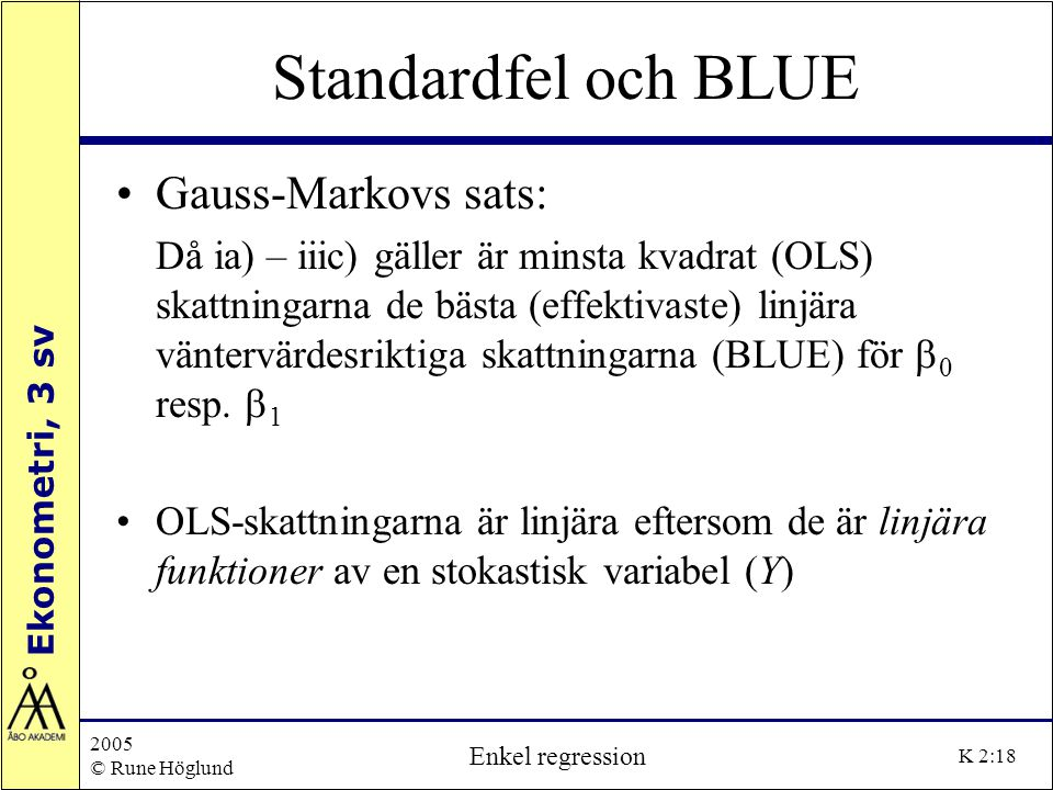 Standardfel och BLUE Gauss-Markovs sats: