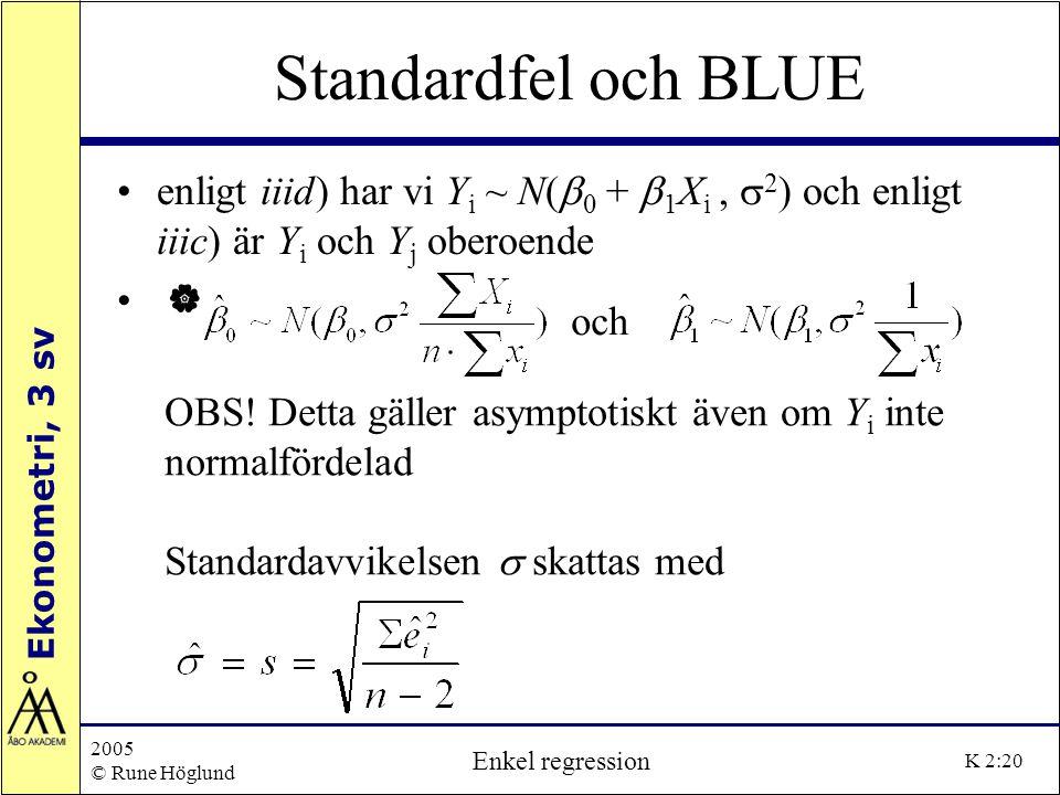 Standardfel och BLUE enligt iiid) har vi Yi ~ N(b0 + b1Xi , s2) och enligt iiic) är Yi och Yj oberoende.