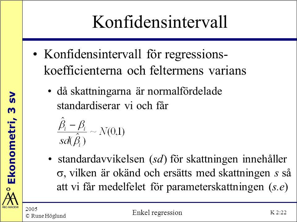 Konfidensintervall Konfidensintervall för regressions- koefficienterna och feltermens varians.
