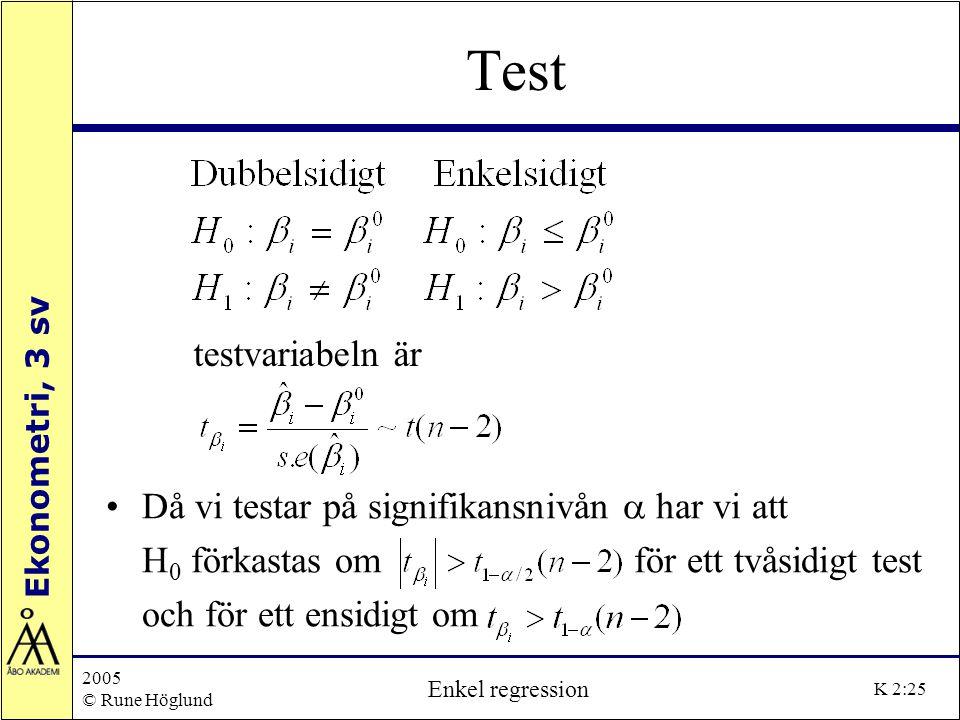 Test testvariabeln är Då vi testar på signifikansnivån a har vi att