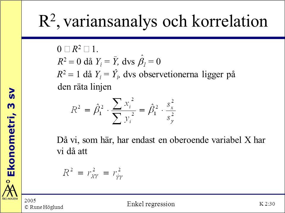 R2, variansanalys och korrelation