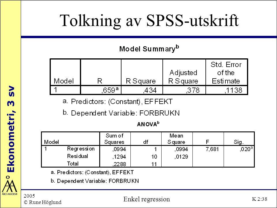 Tolkning av SPSS-utskrift