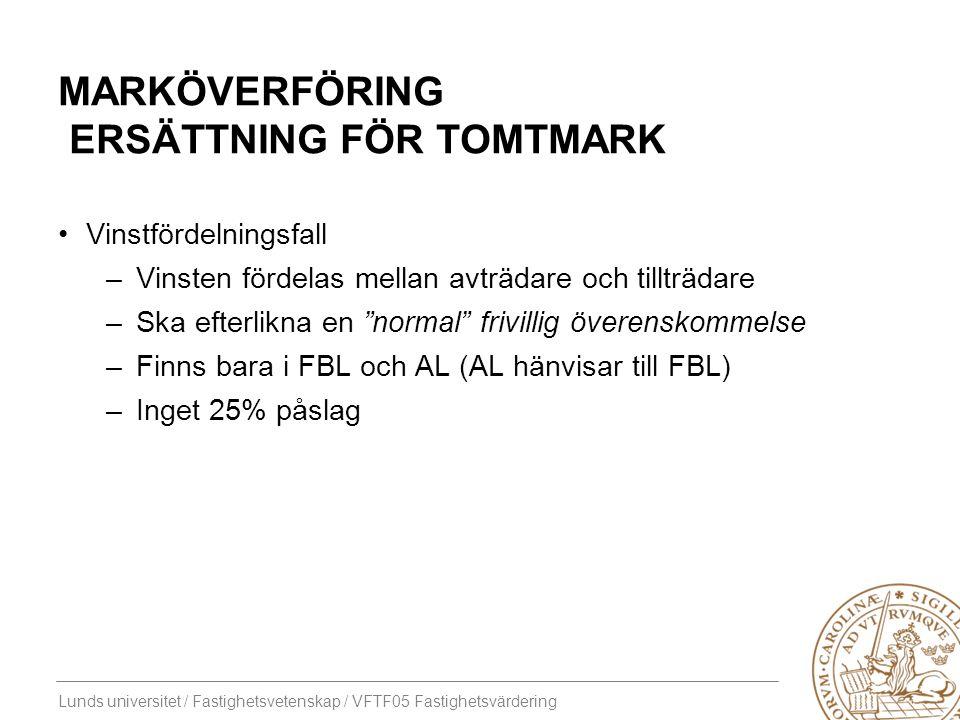 Marköverföring Ersättning för TOMTMARK