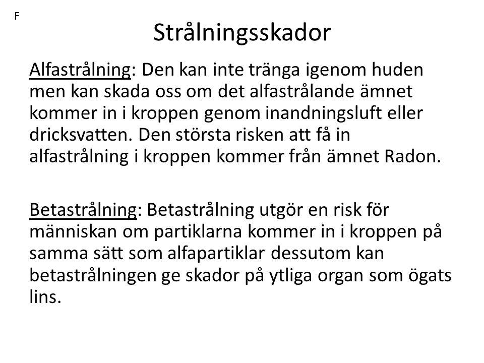 F Strålningsskador.