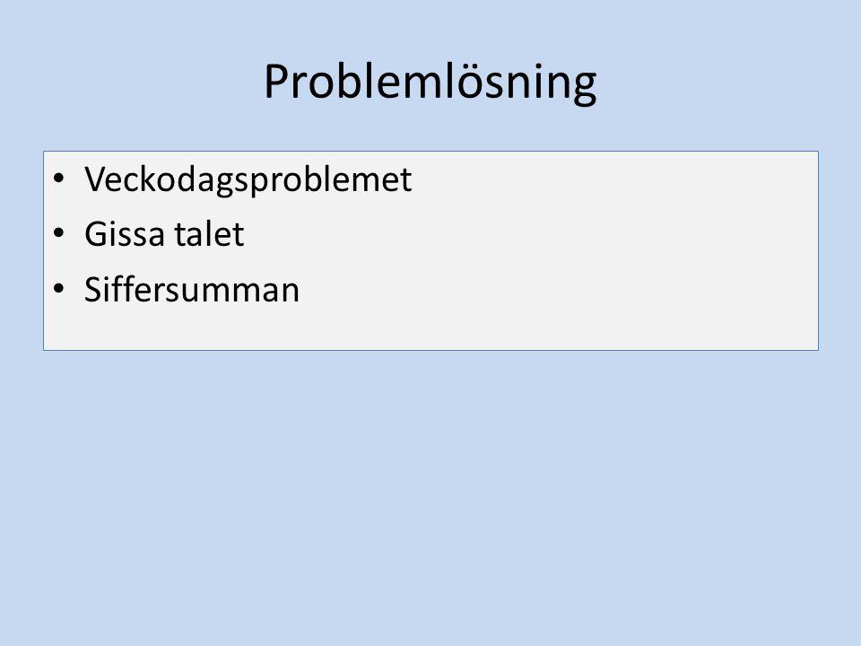 Problemlösning Veckodagsproblemet Gissa talet Siffersumman