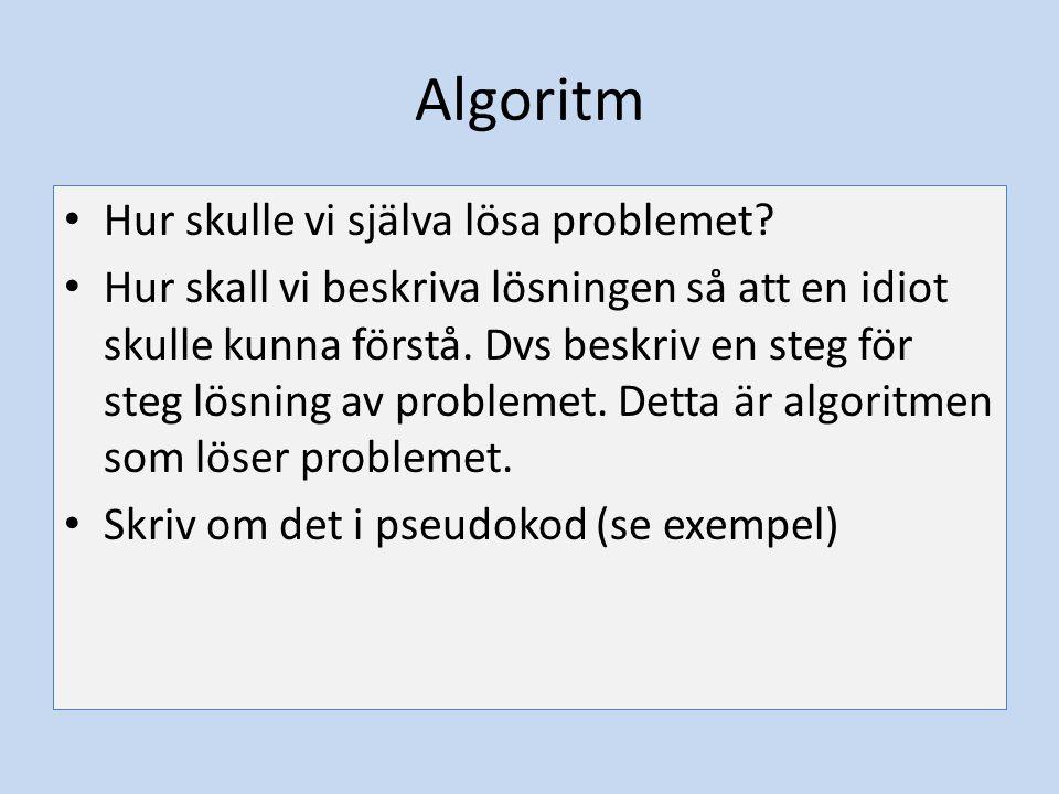 Algoritm Hur skulle vi själva lösa problemet