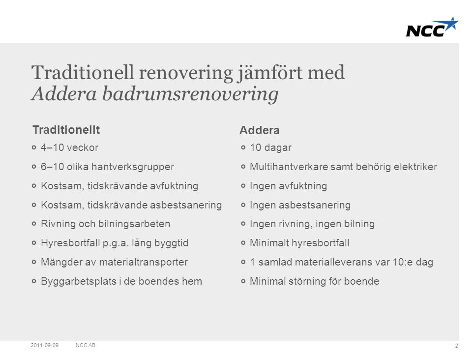 Traditionell renovering jämfört med Addera badrumsrenovering