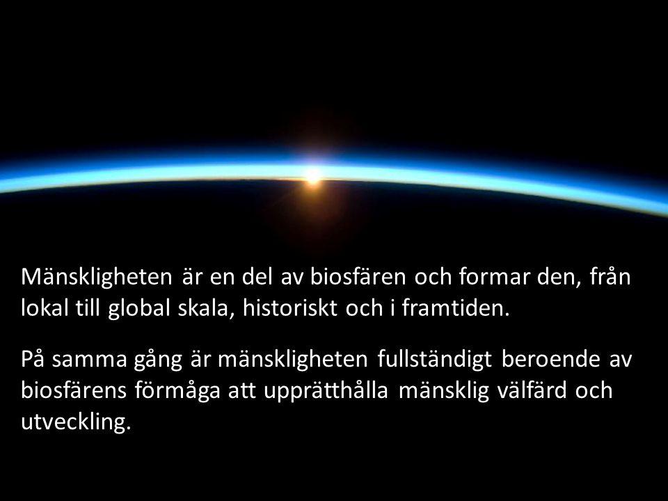 Mänskligheten är en del av biosfären och formar den, från lokal till global skala, historiskt och i framtiden.
