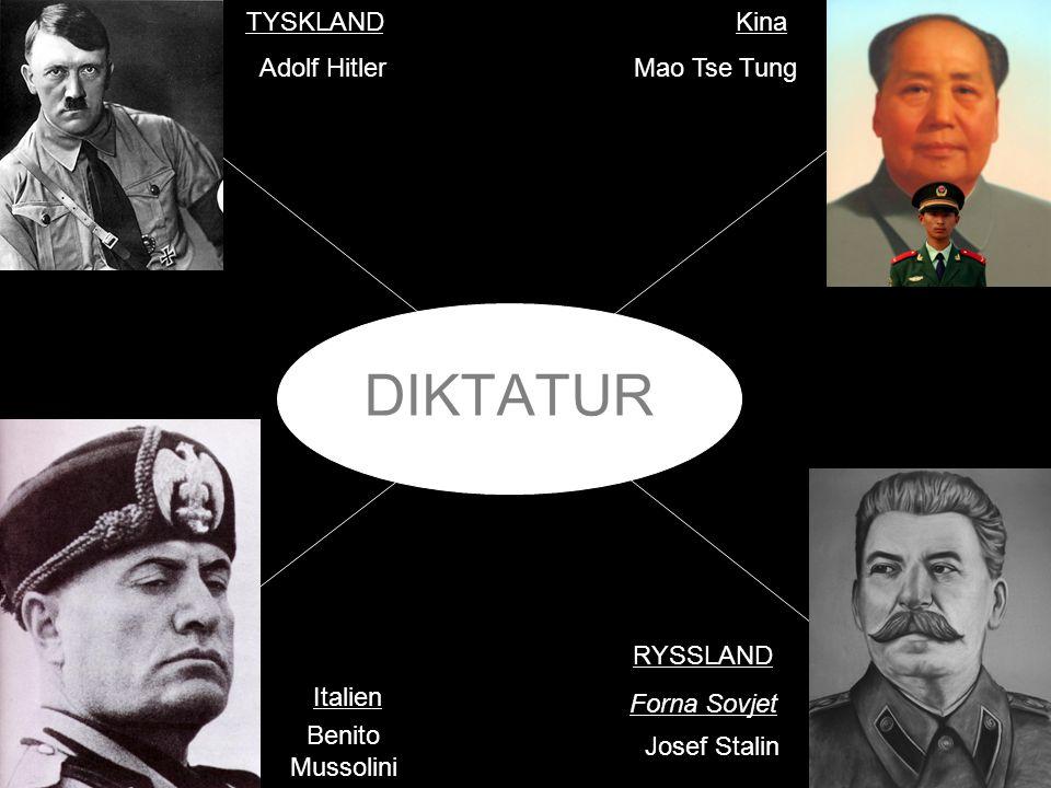 DIKTATUR TYSKLAND Kina Adolf Hitler Mao Tse Tung RYSSLAND Forna Sovjet