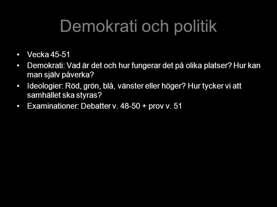 Demokrati och politik Vecka 45-51