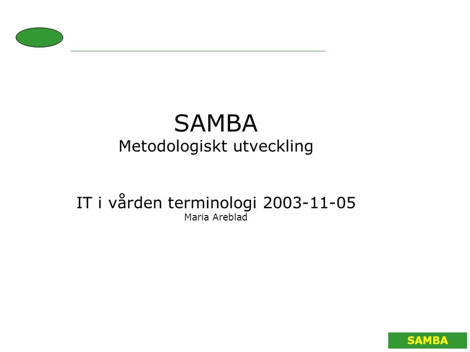 SAMBA Metodologiskt utveckling IT i vården terminologi 2003-11-05