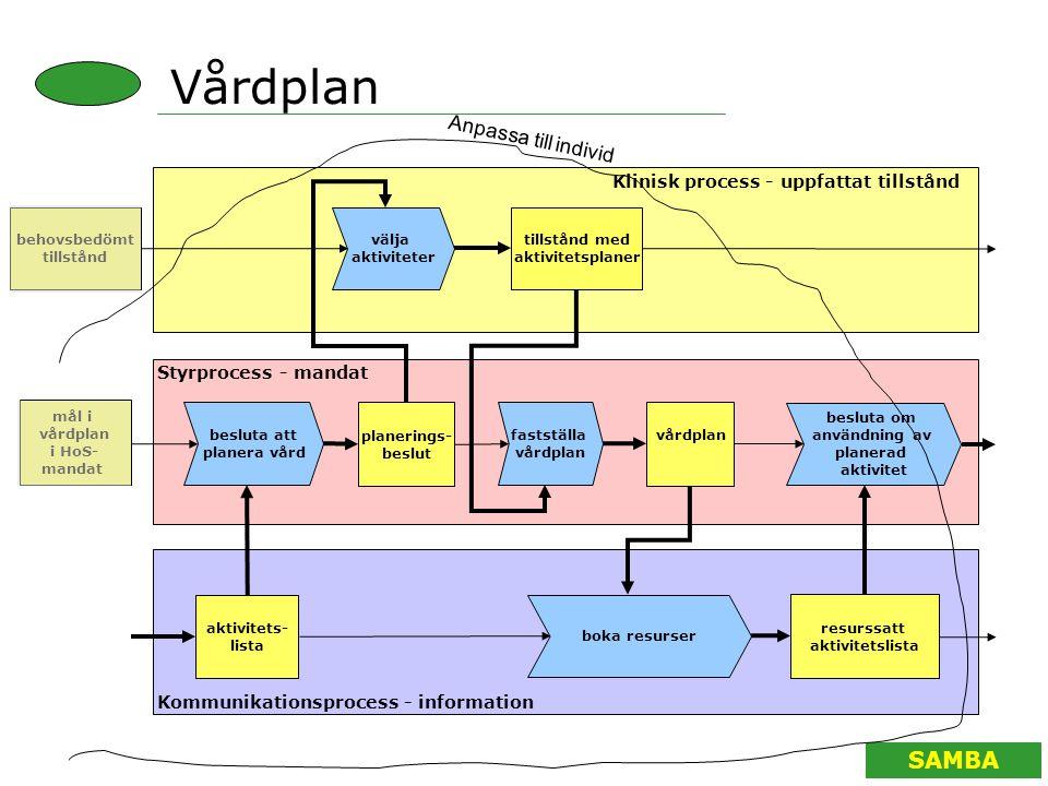 Vårdplan Anpassa till individ Klinisk process - uppfattat tillstånd