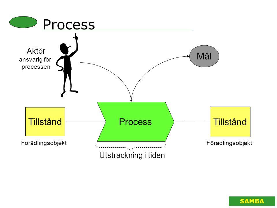 Process Mål Process Tillstånd Aktör Utsträckning i tiden ansvarig för