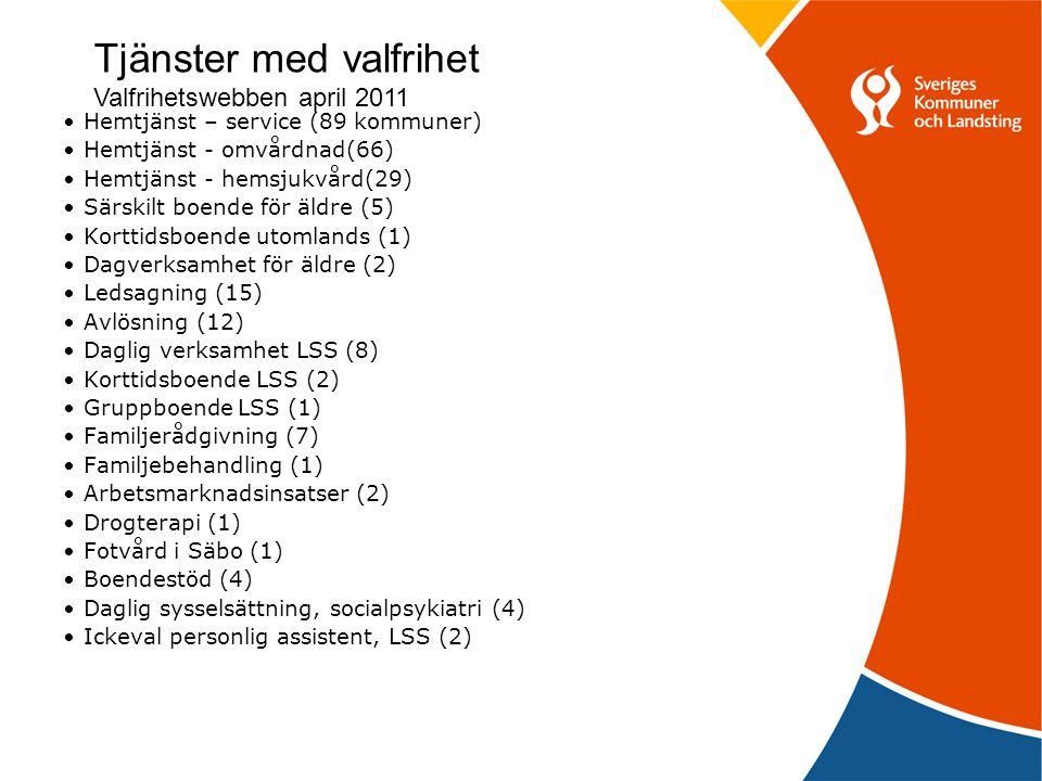 Tjänster med valfrihet Valfrihetswebben april 2011