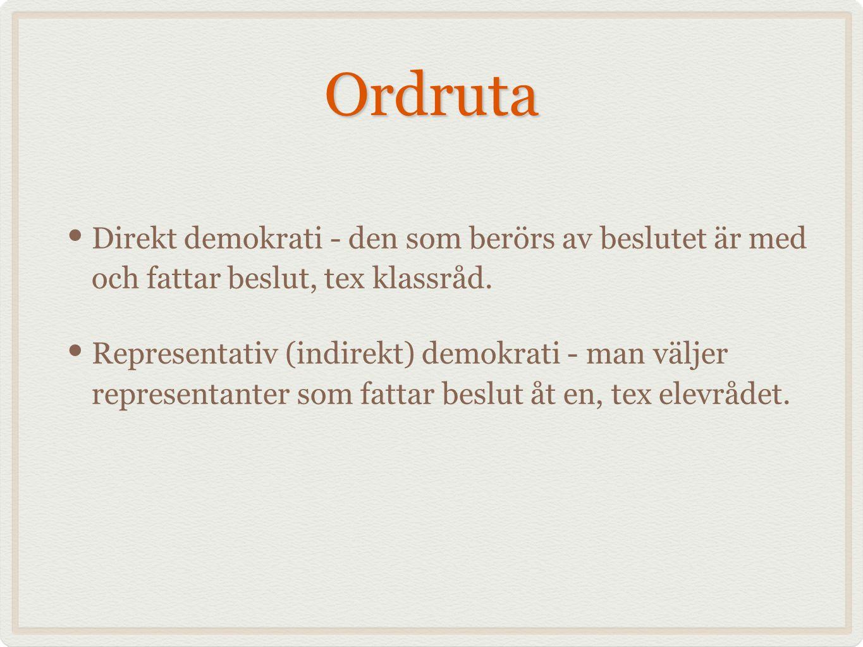 Ordruta Direkt demokrati - den som berörs av beslutet är med och fattar beslut, tex klassråd.