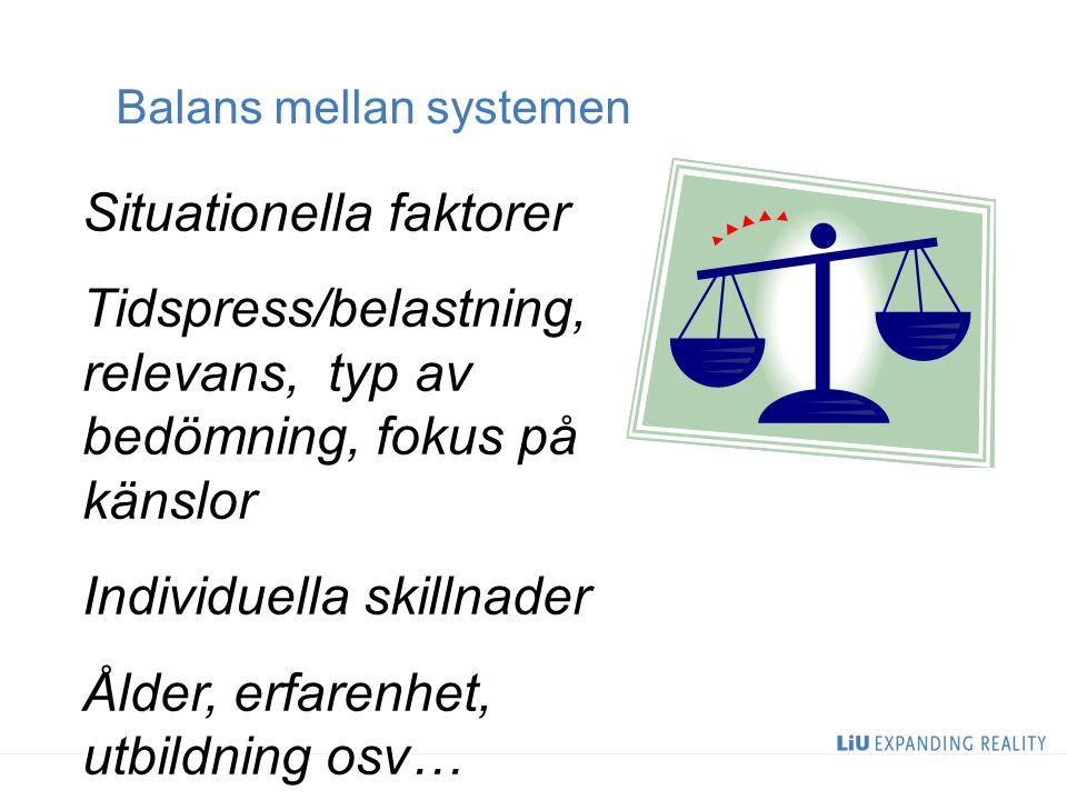 Balans mellan systemen
