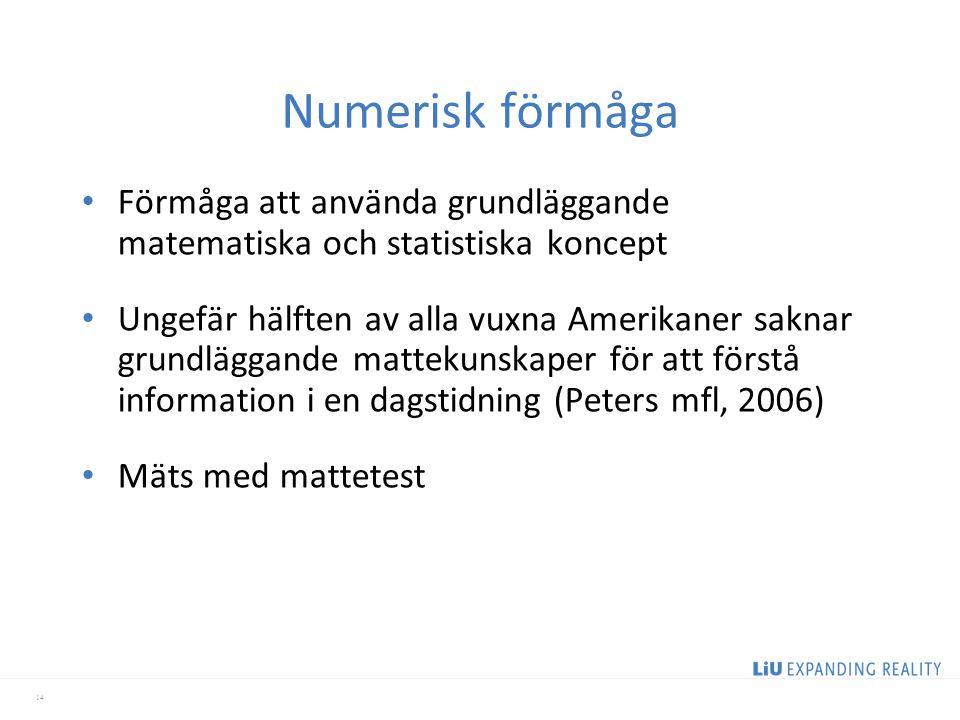 Numerisk förmåga Förmåga att använda grundläggande matematiska och statistiska koncept.