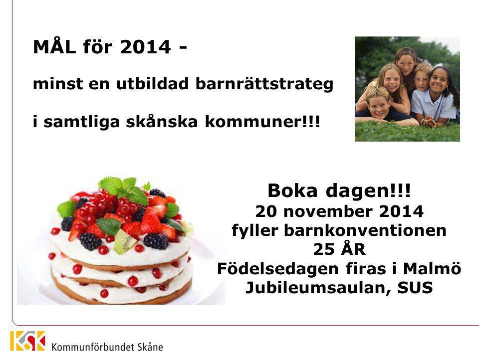fyller barnkonventionen Födelsedagen firas i Malmö