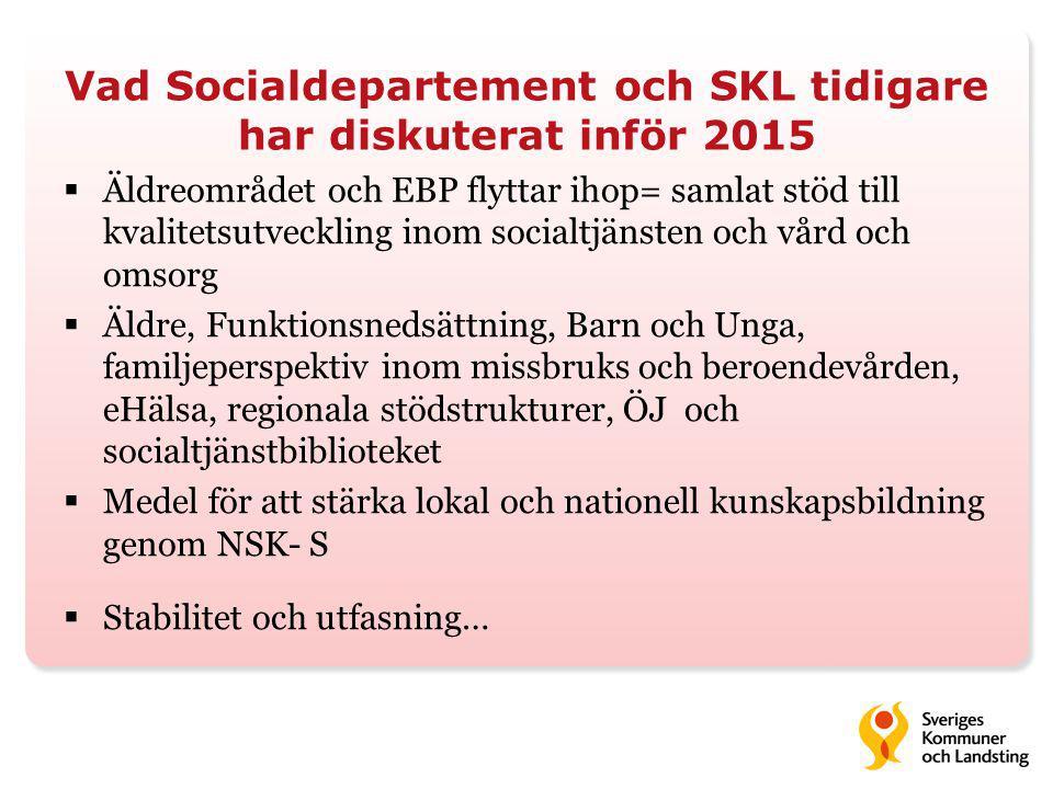 Vad Socialdepartement och SKL tidigare har diskuterat inför 2015