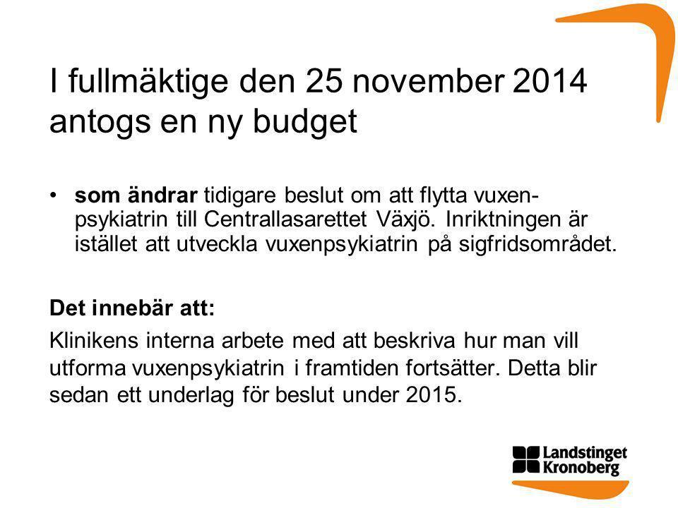 I fullmäktige den 25 november 2014 antogs en ny budget