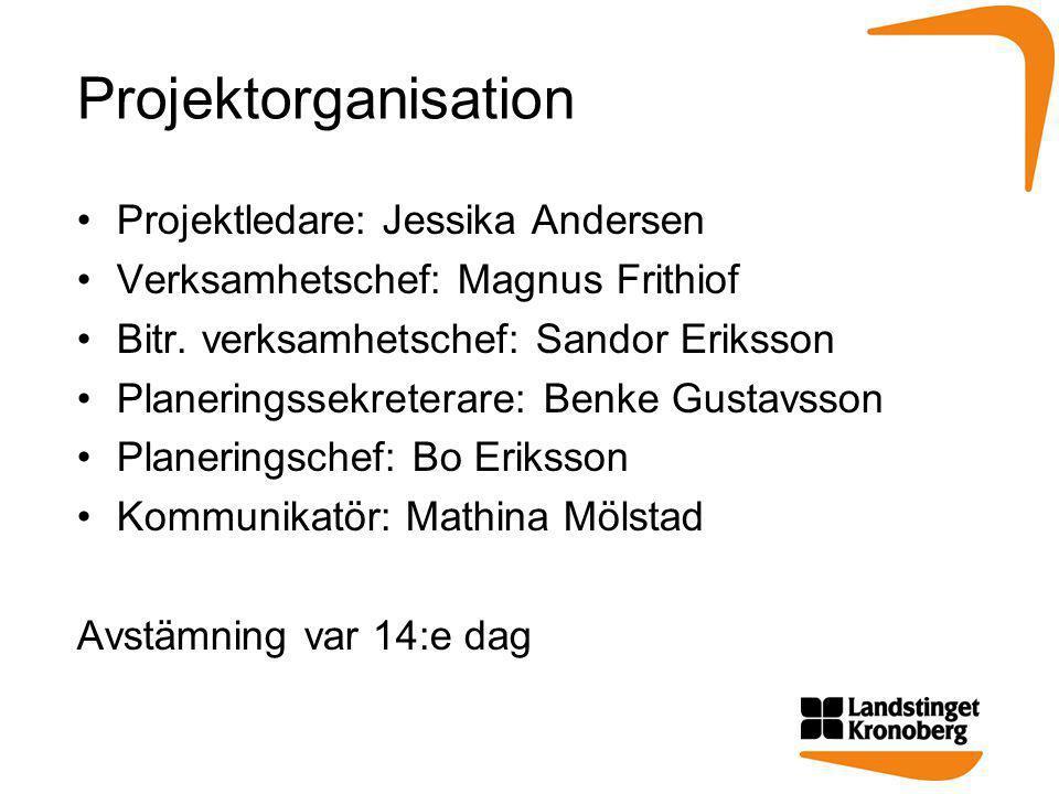 Projektorganisation Projektledare: Jessika Andersen
