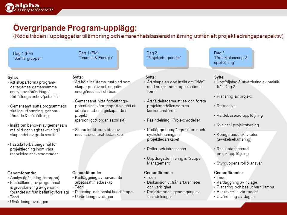 Övergripande Program-upplägg: (Röda tråden i upplägget är tillämpning och erfarenhetsbaserad inlärning utifrån ett projektledningsperspektiv)