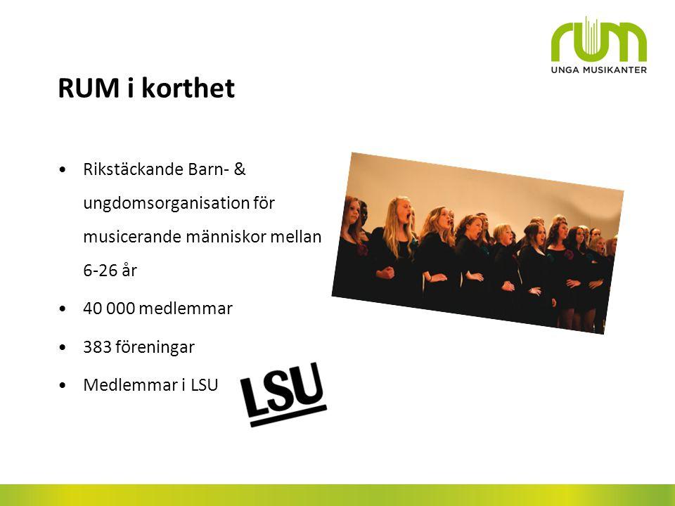 RUM i korthet Rikstäckande Barn- & ungdomsorganisation för musicerande människor mellan 6-26 år. 40 000 medlemmar.