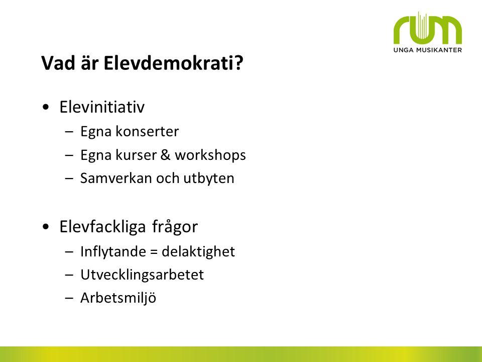 Vad är Elevdemokrati Elevinitiativ Elevfackliga frågor Egna konserter